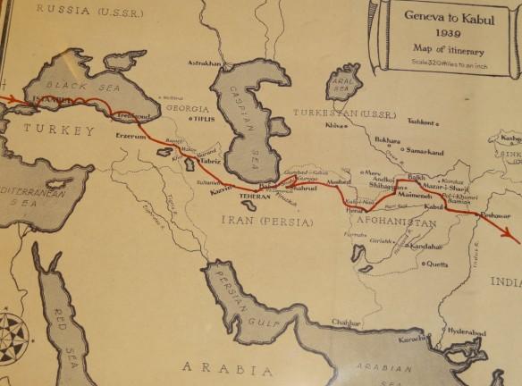 Reiseroute von Ella Maillart und Annemarie Schwarzenbach nach Kabul